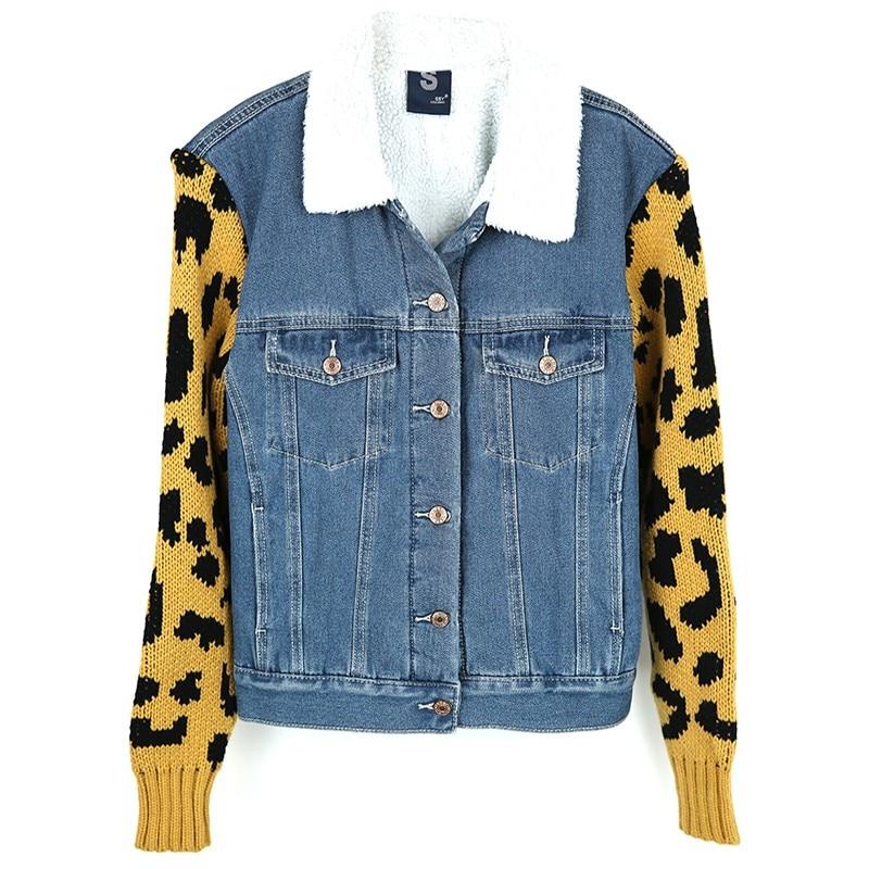 New Winter Casual thicken Women lambswool Denim Stitching Coat sweater Sleeve Girls Slim Warm Outwear Denim Basic Jacket coats