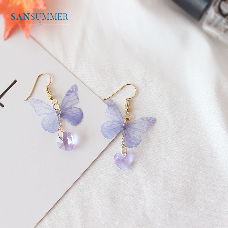 Fashion Personality Lovely Purpou Butterfly Stud Earrings Cute Enamel Beautiful Earrings For Women Trendy Alloy Jewelry Accessor