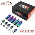 HB Racing 20 Pcs Neo Chrome Rainbow BLOX M12x1.25 Racing Wheel Lug Nuts Com Spikes