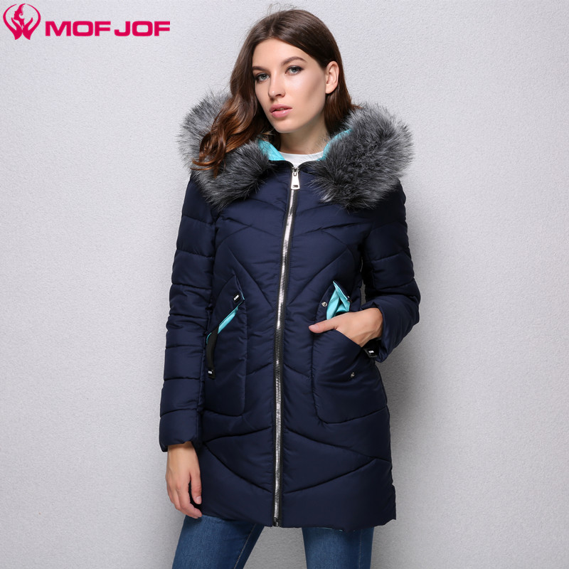 2017 Winter Thick Coats Women Winter Jacket faux fur collar Hooded Patchwork Hit Color Twill fabric Women Parkas mofjof 511#