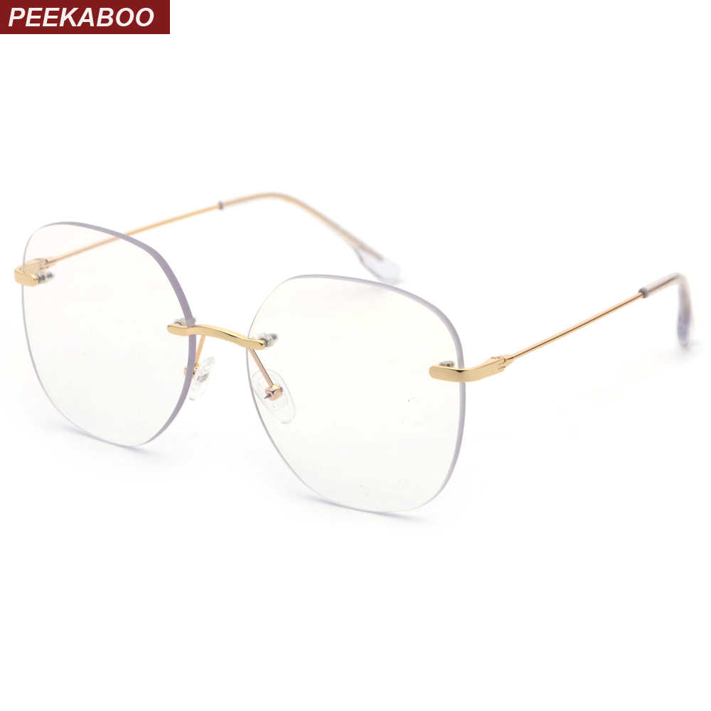 4116b7b92b Peekaboo rimless eyeglass frame optical women 2019 clear lens metal big  square eye glasses frames for