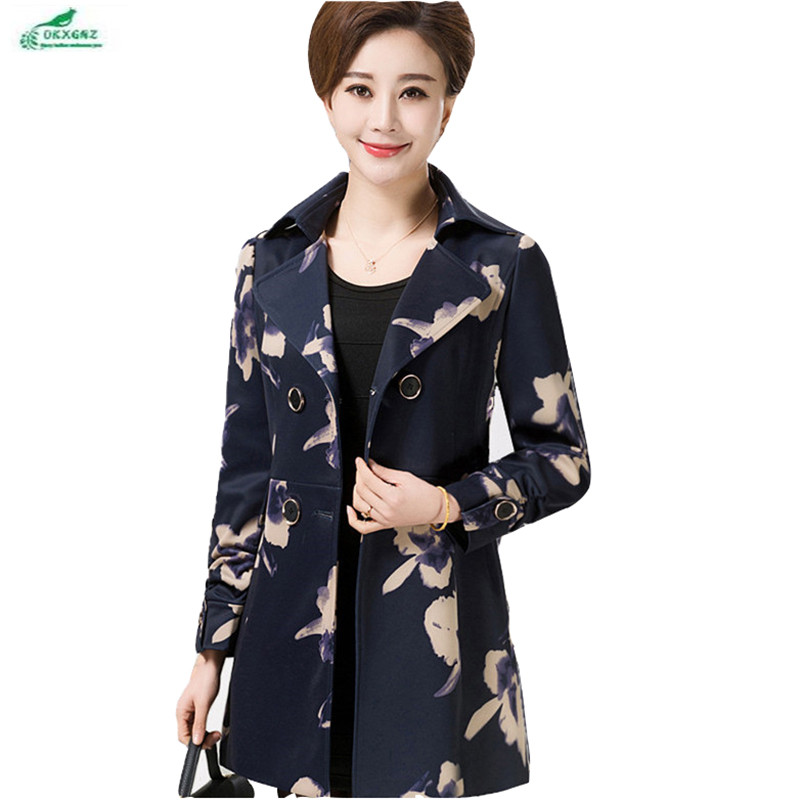 Autumn new   trench   coat Outerwear spring middle-aged women's wear long sleeve coat large size medium long coat in winter OKXGNZ
