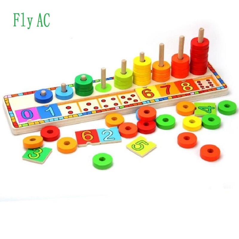 Montessori Rainbow Rings Dominos Children Preschool Teaching Aids Counting and Stacking Board Wooden Math Toy Birthday Gift