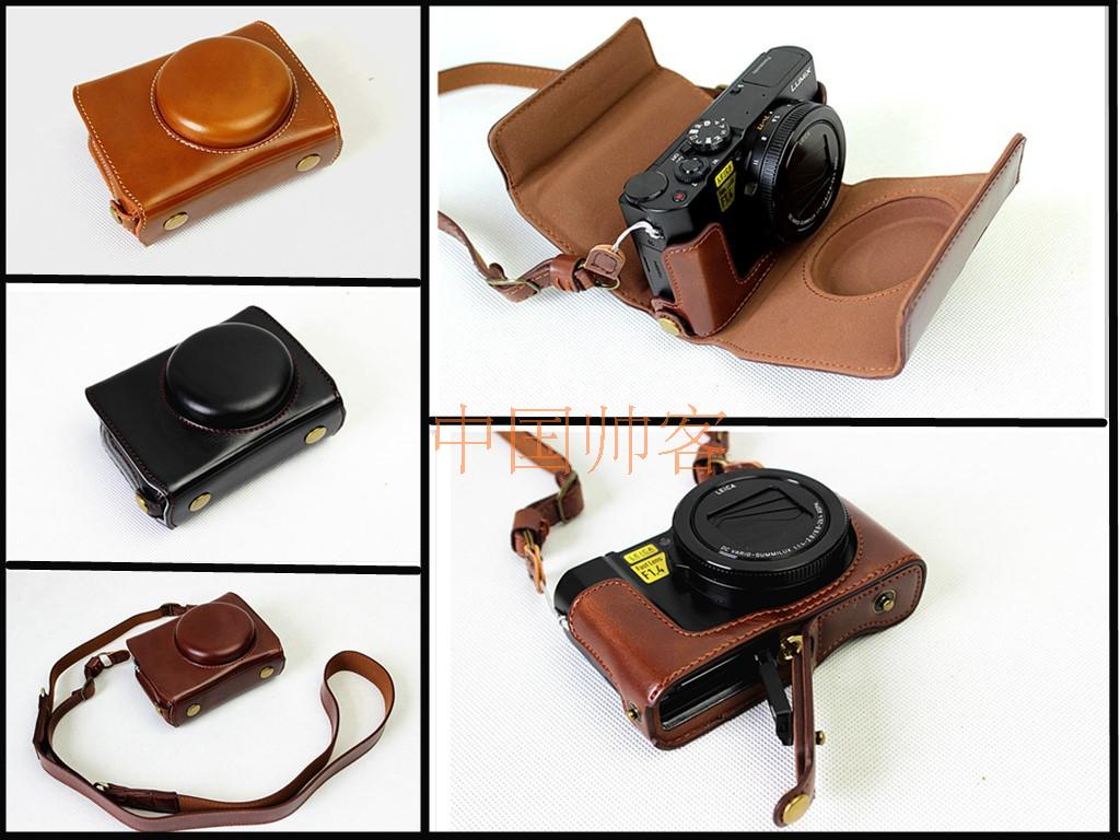 Deluxe Edition Retro Vintage PU Leather Camera <font><b>Case</b></font> Bag For Panasonic <font><b>Lumix</b></font> <font><b>LX10</b></font> L-X10 Camera With Bottom Battery Opening image