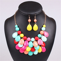 Acrylic Bead Chokers Statement Yellow Color Necklace Bib Bubble Necklace Earrings Jewelry Set Multi Layer Jewellery