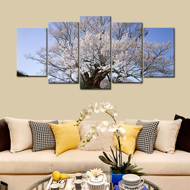5 Panels Weiss Kirschbaum Blossom Moderne Giclee Leinwand Farben