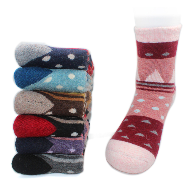 4 Pair NEW Women's Lady Sheep Wool Winter Knit Warm Mid-Calf Causal Socks High Quality Cute