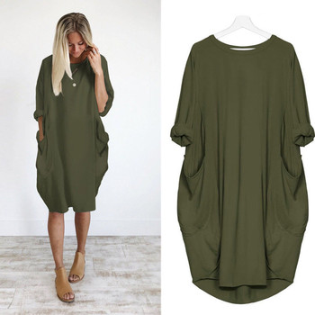 Womens Solid Color Dress Fashion Pocket Loose Dress Ladies Crew Neck Casual Long Tops Dresses Plus Size summer dresses 2019 NEW