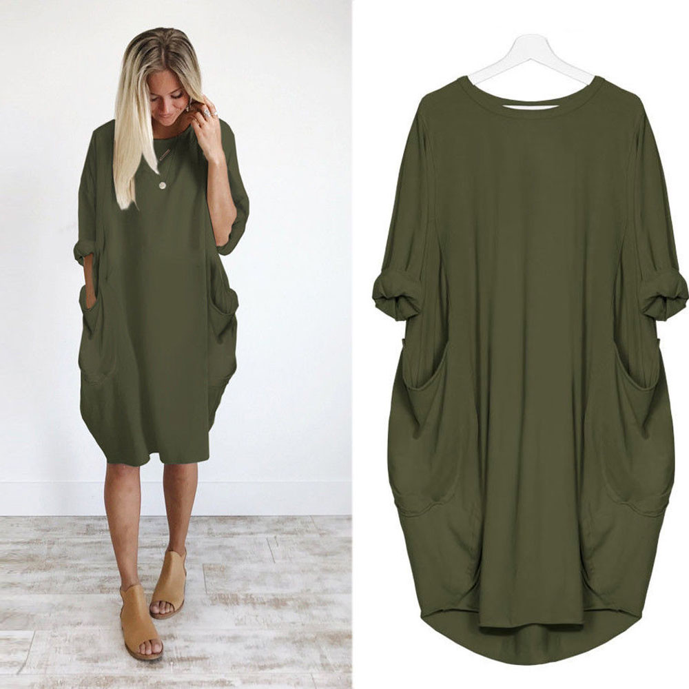 Womens Solid Color Dress Fashion Pocket Loose Dress Ladies Crew Neck Casual Long Tops Dress