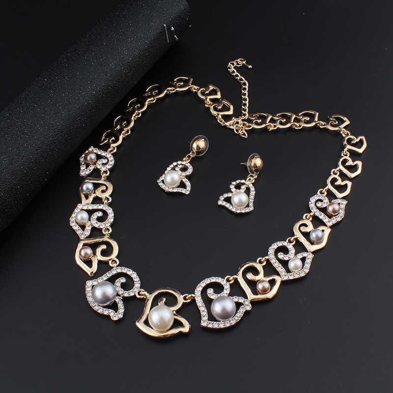 jiayijiaduo African fashion wedding jewelry collection Gold-color imitation pearl necklace earrings beautiful women fashion gift