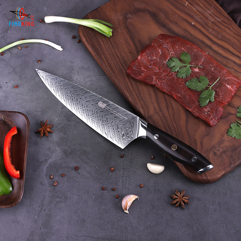 FINDKING AUS-10 damascus steel chefs knifes Ebony Handle arrow pattern Professional 8 inch Gyuto Knives best Kitchen Chef Knife