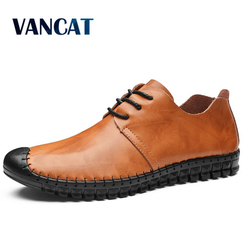 Vancat 2019 New Big Size 38-48 Casual Shoes Loafers Men Shoes Quality Handmade Leather Driving Shoes Men Flats Moccasins Shoes