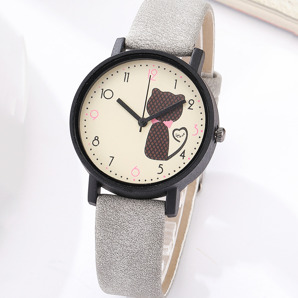 Cute Cat Printed Women Watches Matte Leather Band Quartz Wrist Watch Clock Ladies Girl Casual Sport Watches Reloj Mujer 2018