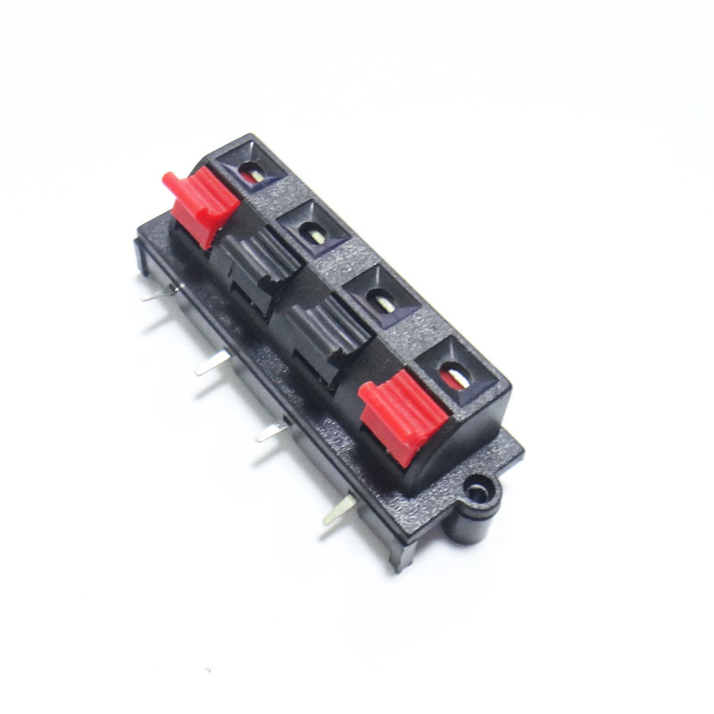 Audio Wire Connectors : Pcs pin red and black spring push type speaker cable