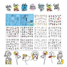 12 узоров/лист черная линия цветные абстрактные изображения наклейки для ногтей Переводные картинки сексуальная девушка Переводные Слайдеры для ногтей искусство