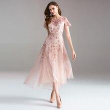 高品質ロングドレス刺繍大振幅のドレスドレスの女性のエレガントな気質ラウンドネック半袖レディースドレス