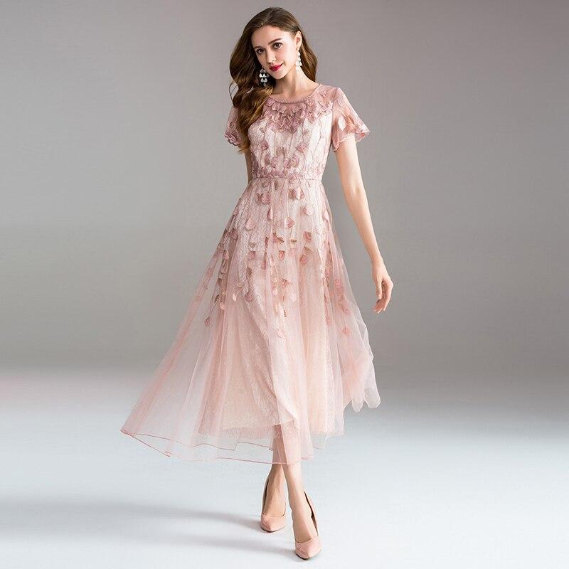 Alta calidad vestido largo bordado gran vestido damas temperamento elegante cuello redondo de manga corta vestidos de las señoras
