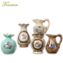 Europe Pastoral Retro Porcelain Vase American Fashion Ceramic Handgrip Flower Vase Room Study Hallway Home Wedding Decoration