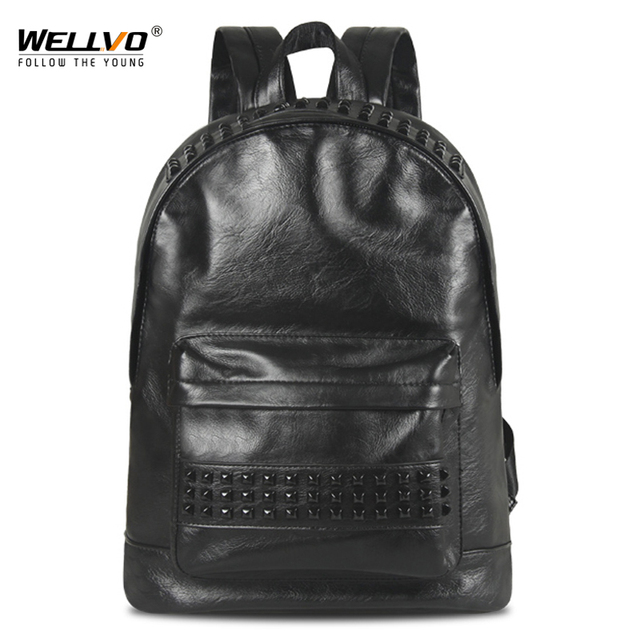 Men s Rivets Backpack Vintage Leather Backpacks School Bags Laptop Rucksack  Man Black Waterproof Travel Boys Schoolbag XA1968C 05b0bb0930a2e