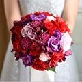 Винтаж Искусственного Пионы Розы Свадебный Букет Лента noiva бранко Розовый Невесты Свадебные Цветы из Шелка букет buque де mariage