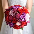 Peonías Artificiales de la vendimia Rose Bridal Bouquet Cinta buque de mariage vestido de noiva branco Rosa Flores De Seda ramo de La Boda de dama de Honor