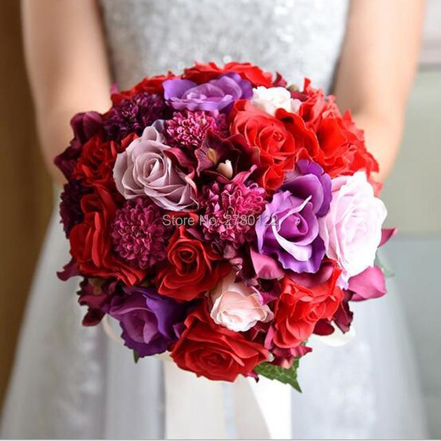 Vintage Artificial Peonies Rose Bridal Bouquet Ribbon buque noiva branco Pink Bridesmaid Wedding Silk Flowers bouquet de mariage
