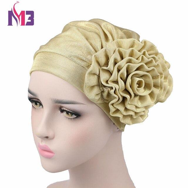 magasin britannique meilleur choix pas de taxe de vente € 4.34 |Bonnet de luxe femme fleur métallique Bonnet casquette chimio  chapeaux écharpe musulmane Hijab Turban islamique dans Cheveux Accessoires  de ...