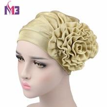 Luxury Women Metallic Flower Beanie Hat Bonnet Chemo Cap Headwear Muslim Scarf Hijab Islamic Turban цена в Москве и Питере