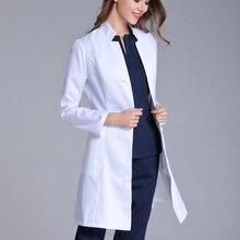 Новая женская униформа для медсестры со стоячим воротником, с длинным рукавом, подходит для врача, белый цвет