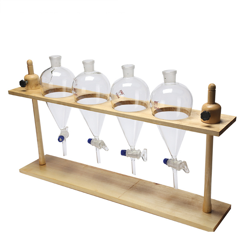 High Quality Wooden Separatory Funnel Stand Rack  4 Holes Lab Supplies