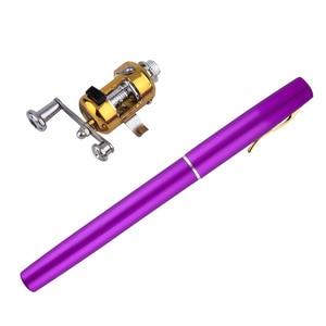 Image 5 - 1pc Mini Portable Aluminum Alloy Pocket Pen Shape Fish Fishing Rod Pole With Reel free shipping