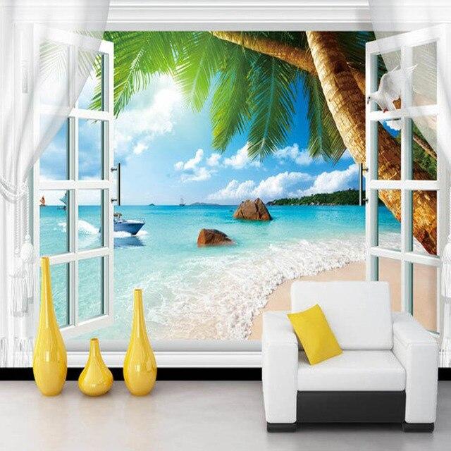 Fototapete 3d Wandbilder Falsche Fenster Strand Landschaft Besroom