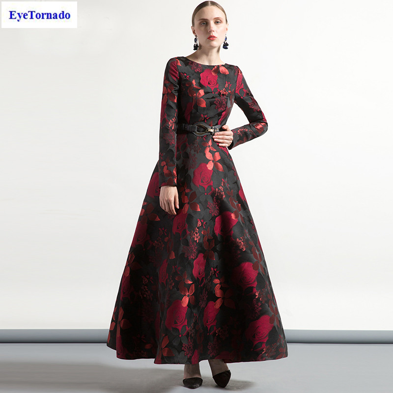 Women autumn rose flower dobby long formal party ball gown dress lady casual office maxi vintage dresses plus size vestido 7208