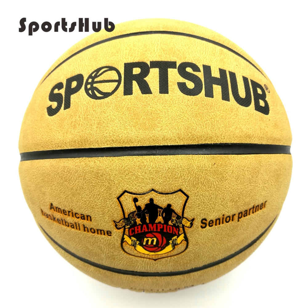 SPORTSHUB Size7 Echtes Leder Indoor & Outdoor Anti-Rutsch-Sport-Basketball-Ball Anti-Reibungs-Basketball 2-Farben BGS0001