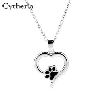 Hollow Pet Paw Prints Necklaces Cute Animal Dog cat Memorial jewelry Pet Lover Puppy Paw Heart Charm Black Enamel Necklace Girls