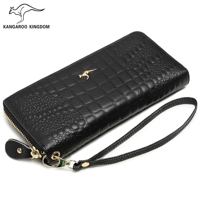 KANGAROO KINGDOM fashion famous brand women wallets genuine leather long zipper clutch purse card holder wallet