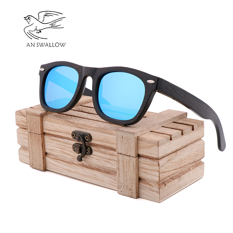 New Bamboo Black Long Rice Nailing Bamboo Wood Sunglasses Retro Fashion Men's Sunglasses TAC Lens UV400 Anti-glare Sunglasses