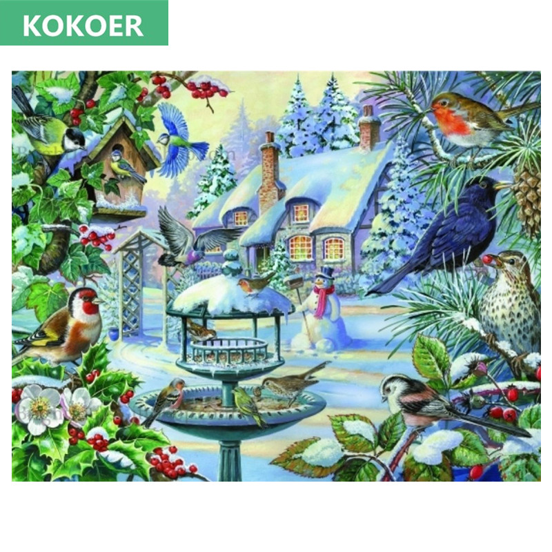 20x20cm DIAMOND EMBROIDERY winter birds on snow 5d of the diamond painting mosaic the picture pastes diamond embroidery Gift