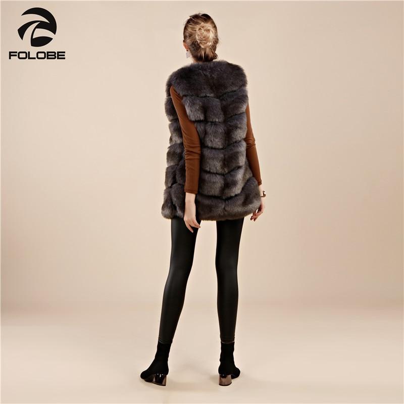 Nouvelle Femmes De Gray Gilet Faux 2018 Fourrure Des Long Manteaux Renard Mince Haute Luxe Folobe Dark Qualité Chaud FK1lT3uJc