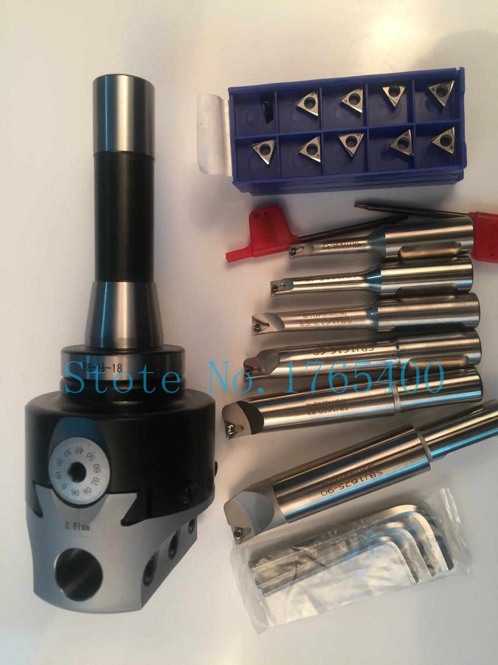 New R8 M12 arbor F1 -18  75mm boring head and shank 18mm 6pcs boring bar and 30pcs carbide inserts