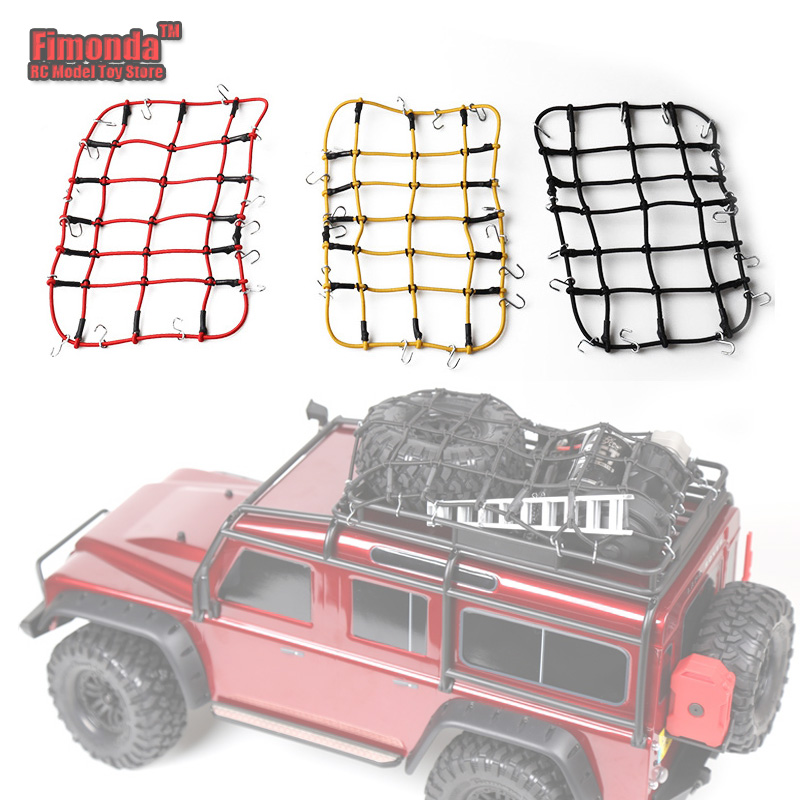 Elastic Luggage Net Car Roof Rack Storage Net With Hooks Rubber Band for Axial SCX10 Net D90 RC4WD Traxxas TRX-4 1:10 RC Car Red(China)