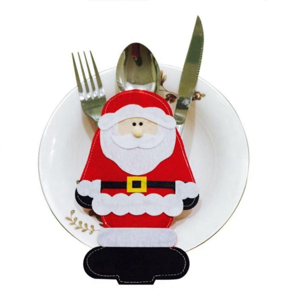 2 Pcs/ Lot Standing Santa Claus Fork Knife Bag Christmas Decoration For  Home Table Tableware Holders Covers Adornos Navidad 2016
