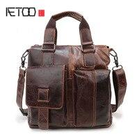 AETOO New leather men bag casual men bag shoulder bag Messenger bag head leather fashion tide package