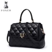 FOXER Brand Women Leather Shoulder Bags & Crossbody long strap New Trend Rhombohedral Ladies Flap Women-bag