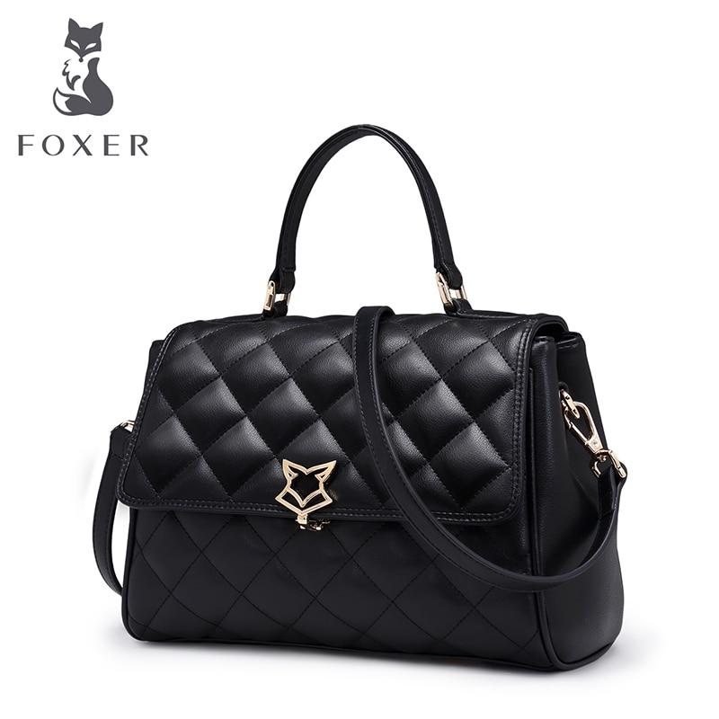 FOXER Women Leather Shoulder Bag Cowhide Lattice Crossbody Bags Lady <font><b>Handbag</b></font> with Adjustable Strap Fashion Flap Bag for Female