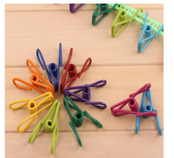 10pcs colorful Stainless Steel Wire Clips Clothespins Hanging Clips Hooks Clothes Pins 5.5*3*1.7cm Drying Rack Clips