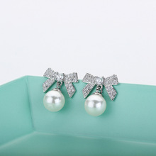 Fashion Jewelry & Accessories,Earrings, Stud Earrings,S925 sterling silver needle Earrings,Zircon bow pearl ear studs цена