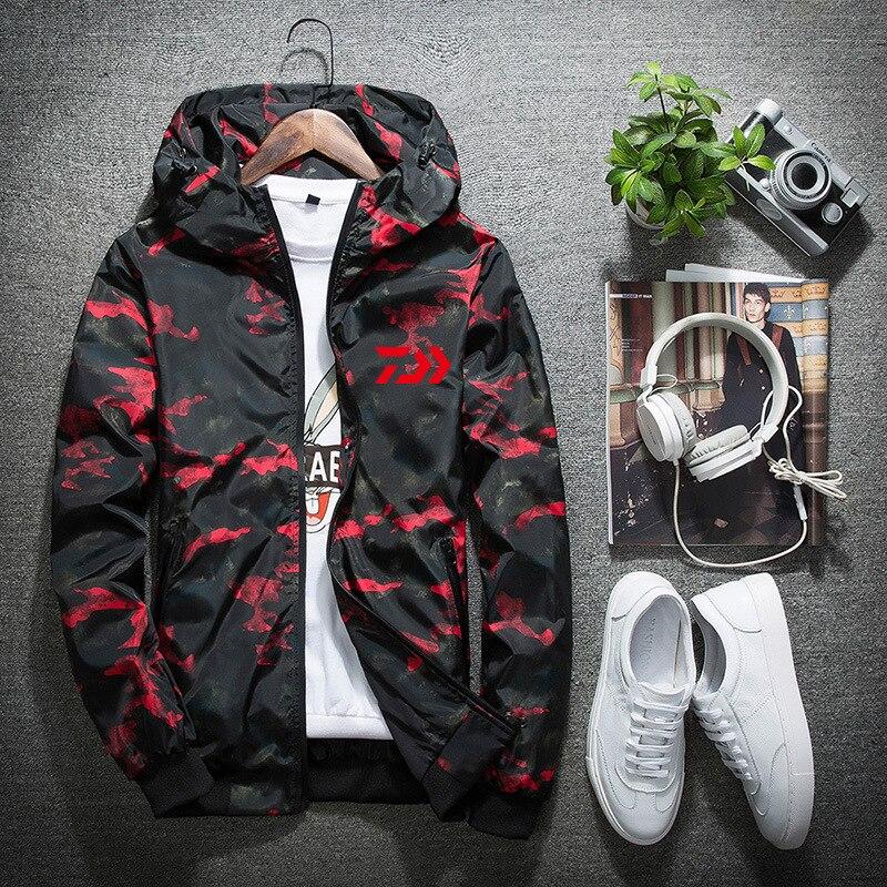 2018 Daiwa Plus size 4XL Fishing Clothing Male Spring Autumn Mosquito Waterproof Camouflage Fishing Jackets Sunscreen