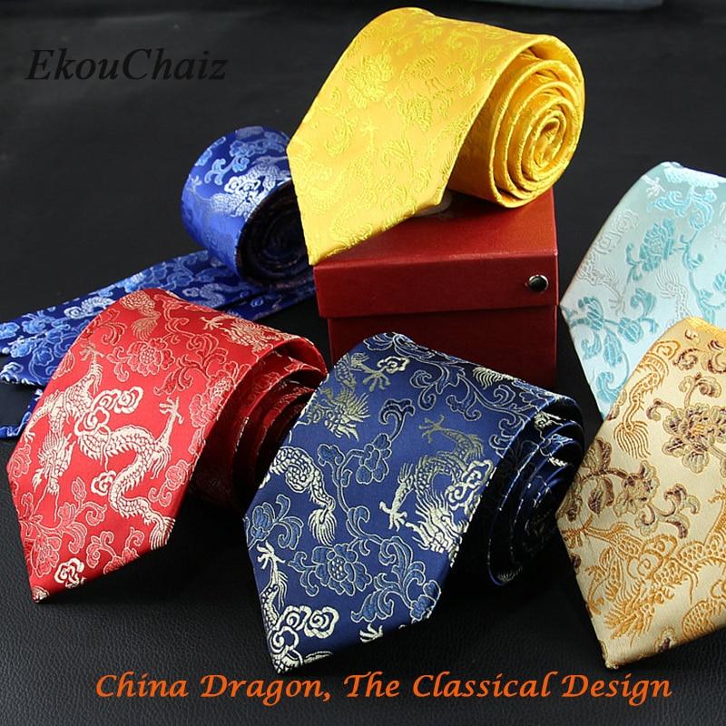 Men Fashion Business Ties Good Luck Golden Dragon Totem Classical Neckties Retro Evening Wear Wedding Party Tie Mascot Gravatas