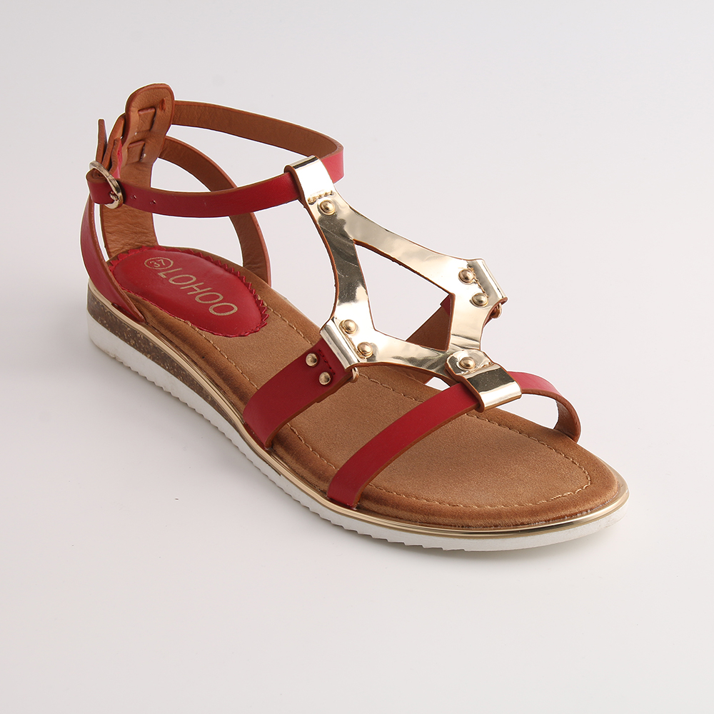 3b1bb2bae Shoes HEYIYI Gladiator Woman s Shoes Soft Leather Lady Sandals Flat Casual Summer  Beach Large Size Red White Brown Shoes-in Women s Sandals from Shoes on ...